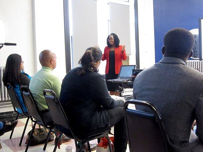 Vivica Brooks Teaching in Classroom
